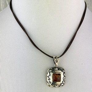 Silpada Amber Pendant Leather Necklace